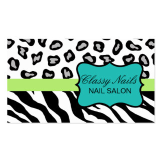Black, White, Turquoise & Green Zebra & Cheetah Double-Sided Standard Business Cards (Pack Of 100)