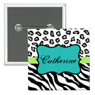 Black White Turquoise Zebra Leopard Name Badge Pinback Button