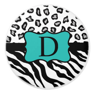 Black White Turquoise Zebra Leopard Skin Monogram Ceramic Knob