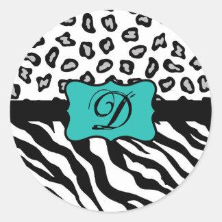 Black White Turquoise Zebra Leopard Skin Monogram Classic Round Sticker