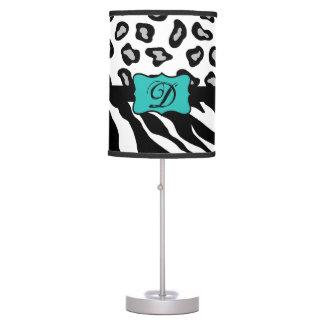 Black White Turquoise Zebra Leopard Skin Monogram Desk Lamps