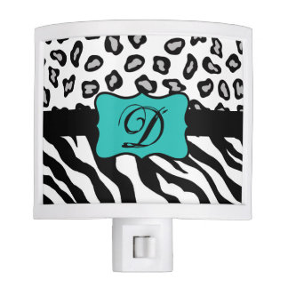 Black White Turquoise Zebra Leopard Skin Monogram Night Light