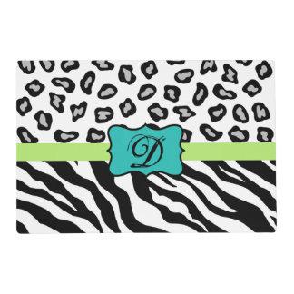 Black White Turquoise Zebra Leopard Skin Monogram Laminated Place Mat