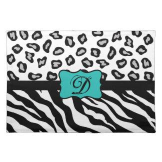 Black White Turquoise Zebra Leopard Skin Monogram Cloth Place Mat