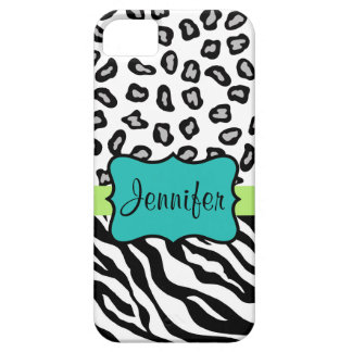Black White Turquoise Zebra Leopard Skin Name iPhone SE/5/5s Case
