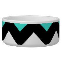 Black White Turquoise Zigzag Bowl