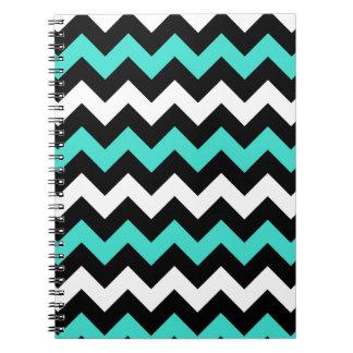 Black White Turquoise Zigzag Notebook