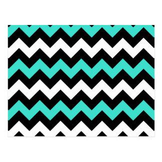 Black White Turquoise Zigzag Postcard