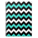 Black White Turquoise Zigzag Spiral Notebooks