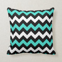 Black White Turquoise Zigzag Throw Pillow