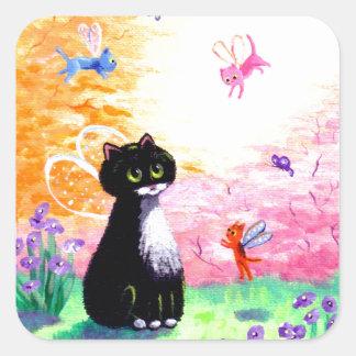 Black White Tuxedo Cat Fairies Creationarts Square Sticker