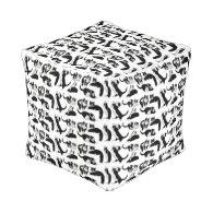Black White Tuxedo Cats Pouf Cube Pouf