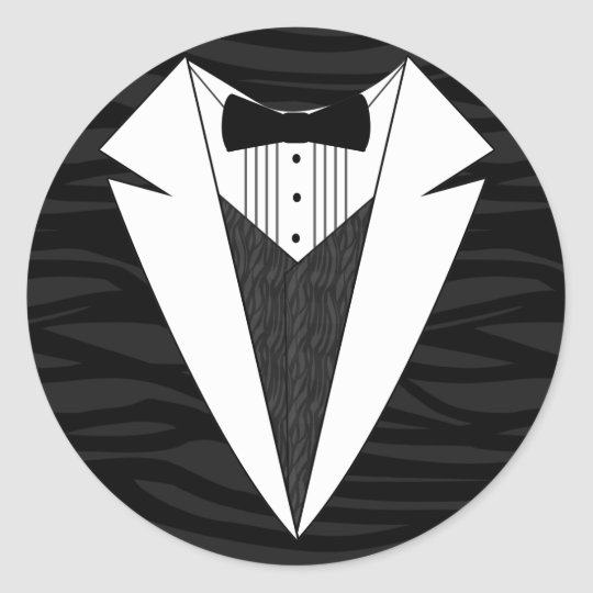 Black/White Tuxedo Classic Round Sticker