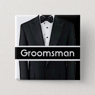 Black white tuxedo customizable groomsman button