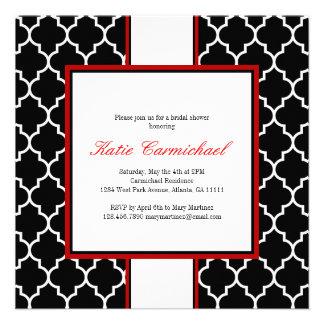 Black White Tuxedo Invitation Red