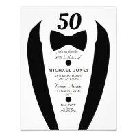 black white tuxedo mens 50th birthday party invite