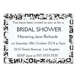 Black & White Type Bridal Wedding Shower Card