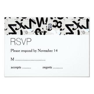 Black & White Type Wedding RSVP 3.5x5 Paper Invitation Card