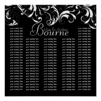 Black White Typography Wedding Seating Chart