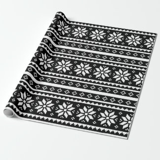 Black white Ugly Christmas Sweater wrapping paper