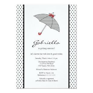 black white umbrella bridal shower invitation