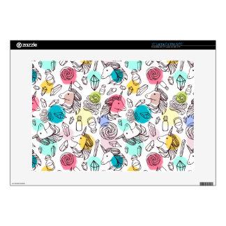 Black & White Unicorn Sketch - Colorful Polka Dots Laptop Skins