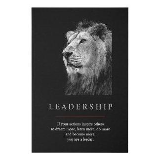 Black White Unique Motivational Leadership Lion Faux Canvas Print