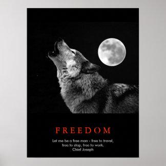 Black White Unique Motivational Wolf Howls Print
