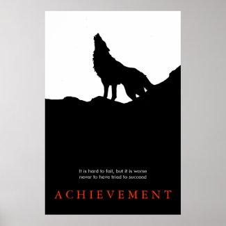 Black White Unique Motivational Wolf Poster Print