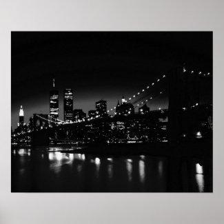 Black & White Unique New York Night Poster Print