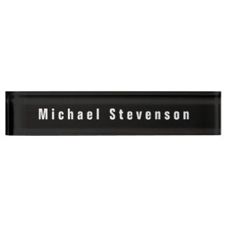 Black White Unique Personal Business Nameplate