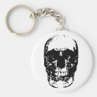 Black White Unique Pop Art Skull Cool Keychain