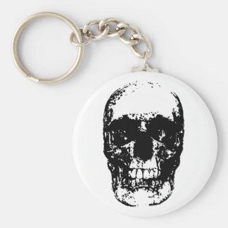 Black White Unique Pop Art Skull Cool Keychain