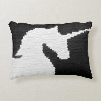 Black White Unique Unicorn Designer Crochet Print Accent Pillow