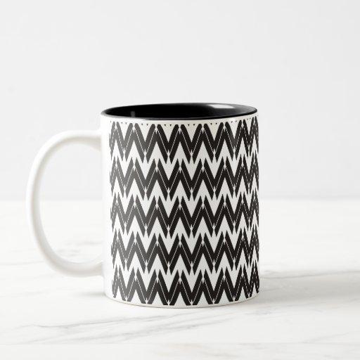 Black White Unique ZigZag Pattern - Mug