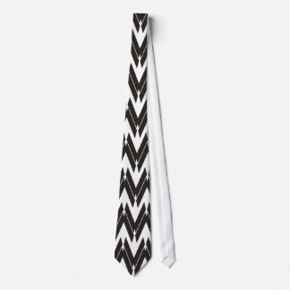 Black White Unique ZigZag Pattern - Tie