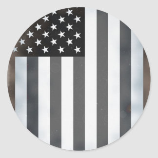 Black & White US American Flag Classic Round Sticker