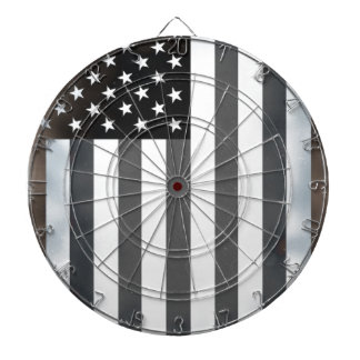 Black & White US American Flag Dartboard With Darts