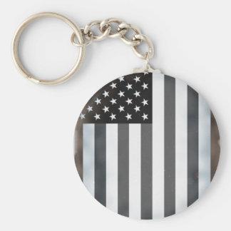Black & White US American Flag Keychain