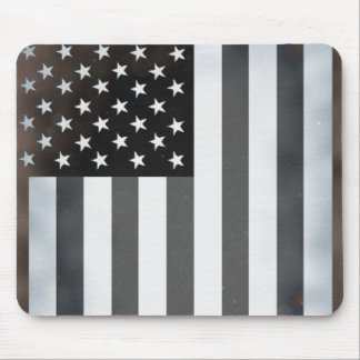Black & White US American Flag Mouse Pad