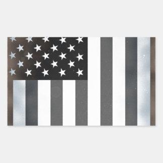Black & White US American Flag Rectangular Sticker
