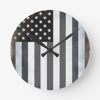 Black & White US American Flag Round Clock