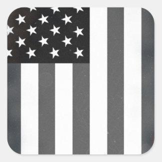 Black & White US American Flag Square Sticker