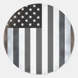 Black & White US American Flag Round Stickers