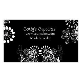 Black & White Utensil Garden Business Card Templates