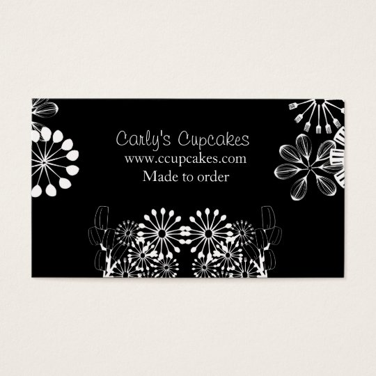 Black & White Utensil Garden Business Card