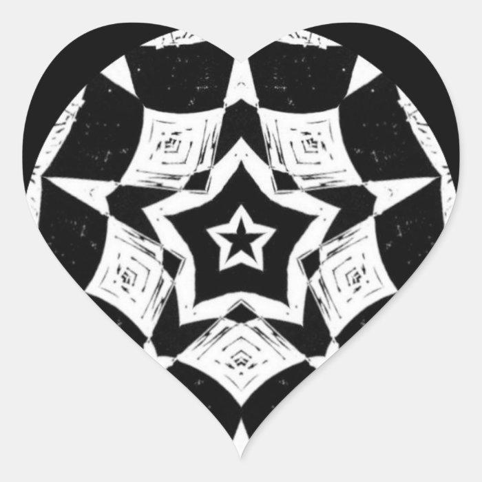 Black White Valentine Heart Fractal Art Sticker
