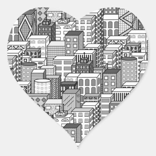 Black & White Vector Cityscape Heart Sticker