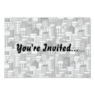 Black & White Vector Cityscape 3.5x5 Paper Invitation Card