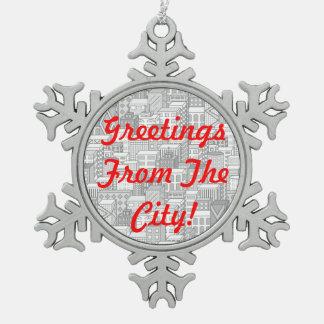 Black & White Vector Cityscape (Light) Ornaments